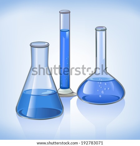 Science laboratory flasks glassware template on blue still life symbol  illustration