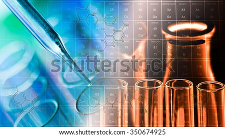 science laboratory test tubes and periodic table background - stock photo