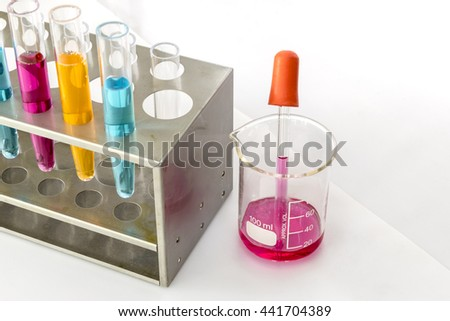 science laboratory test tubes, laboratory pipette wiith test tube - stock photo