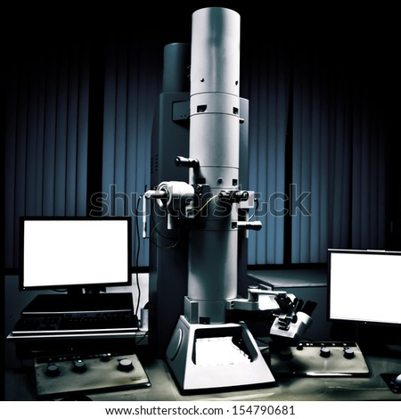 science medical equipment electron microscope - stock photo