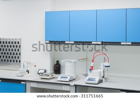 Science modern lab interior architecture with lab equipment. - stock photo