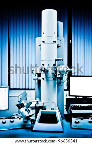 science modern laboratory equipment electron microscope - stock photo