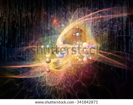 Science Particle series. Interplay of molecular particles and lights on the subject of science, education and technology - stock photo