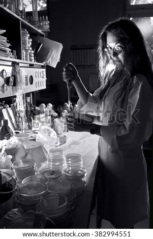 science professional is working in old laboratory