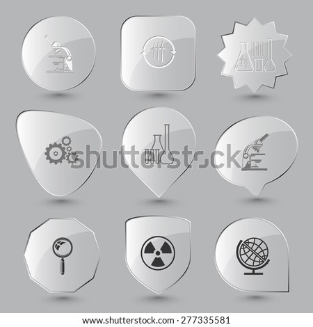 Science set. Raster glass buttons. - stock photo