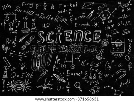 Science symbol and formulas on black background. - stock photo