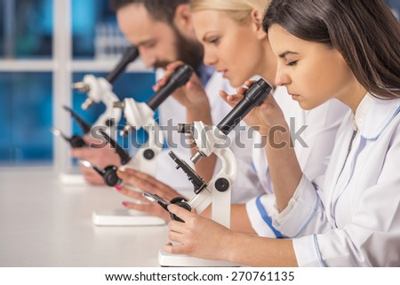 Science team working with microscopes in a laboratory. - stock photo