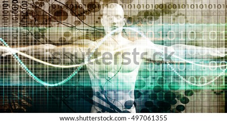 Science Technology with Human Body Anatomy Research and Development 3D Illustration