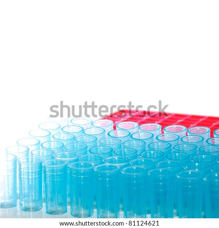 science test pipette plastic tips - stock photo