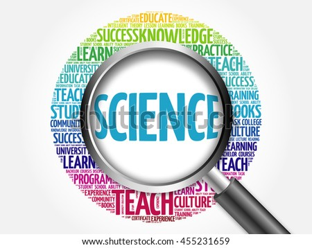 SCIENCE word cloud with magnifying glass, concept 3D illustration - stock photo