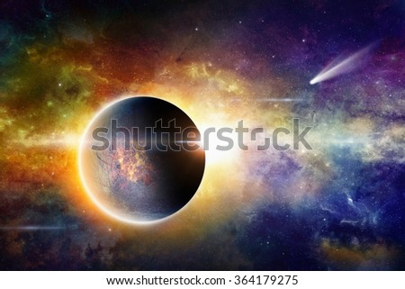 Scientific background - aliens planet in deep space, comet in space, glowing mysterious galaxy. Elements of this image furnished by NASA nasa.gov - stock photo