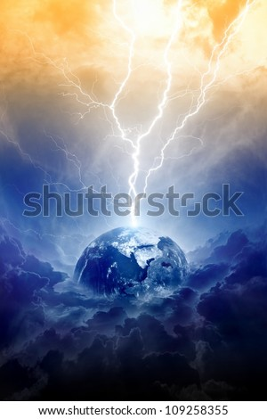 Scientific background - big lightning hits planet Earth in dark dramatic sky - stock photo