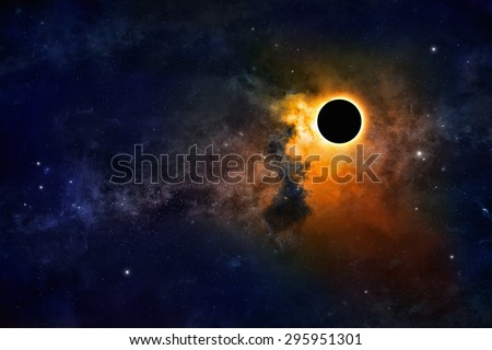 Scientific background - black hole, nebula in deep space, glowing mysterious universe. Elements of this image furnished by NASA nasa.gov - stock photo