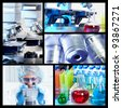 Scientific background collage. Medical research. Doctor with microscope. - stock photo