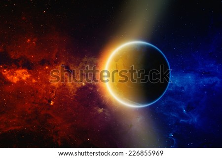 Scientific background - glowing planet Earth in space, red and blue galaxy with stars and nebula. Elements of this image furnished by NASA - stock photo