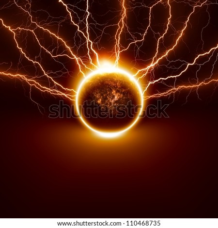 Scientific background - planet Earth in danger, struck by big lightnings. Elements of this image furnished by NASA - stock photo