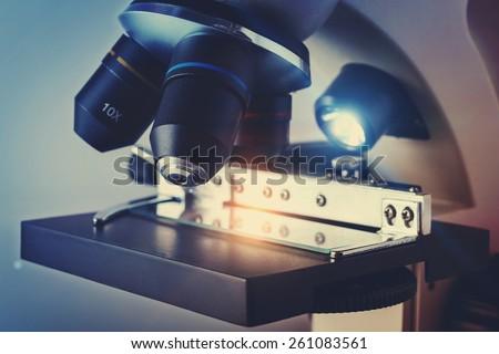 Scientific Biological Microscope - stock photo