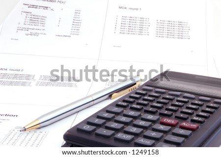 scientific calculator and pen on the university lecture note . Concept of study revision - stock photo