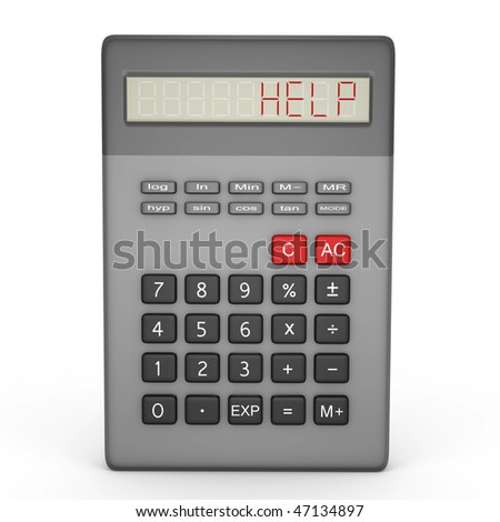 Scientific calculator calling for help - a 3d image - stock photo