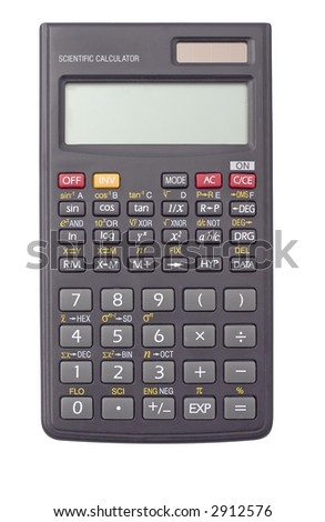 scientific calculator isolated on white background - stock photo