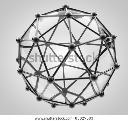 scientific 3D model of the molecule, an atom of metal and glass - stock photo