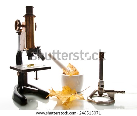 Scientific equipment including a microscope and bunsen burner. - stock photo