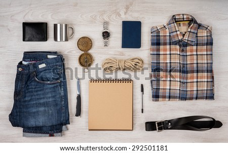 Scientific expedition and travel background. Overhead view - stock photo