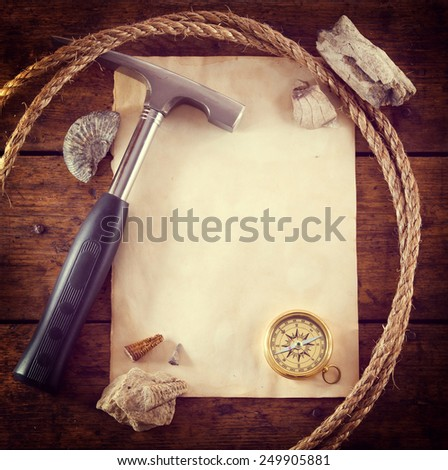 scientific expedition background - stock photo