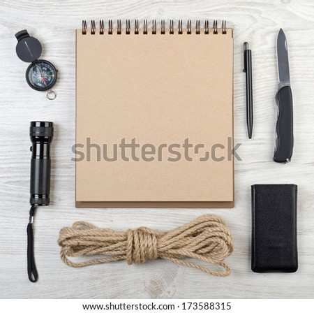 Scientific expedition background. Overhead view - stock photo