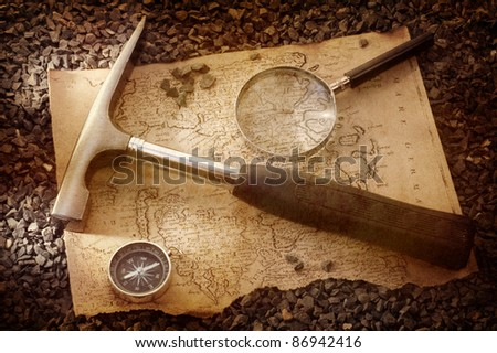 scientific expedition ( grungy background) - stock photo