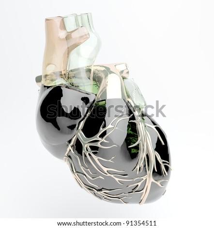 Scientific model of artificial human heart - stock photo