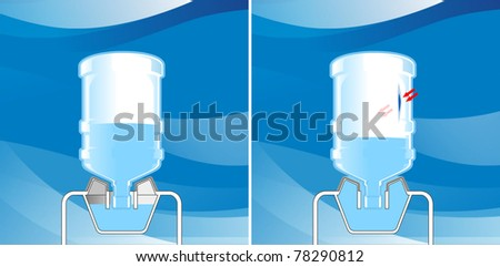 scientific research of damage to the plastic water bottle - stock photo