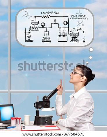 scientific researcher woman thinking about scheme chemical reaction - stock photo