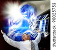 Scientific researches in the field of transformation of a space solar energy - stock photo
