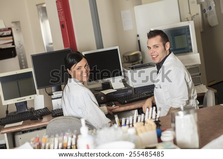 scientist at work in a laboratory - stock photo