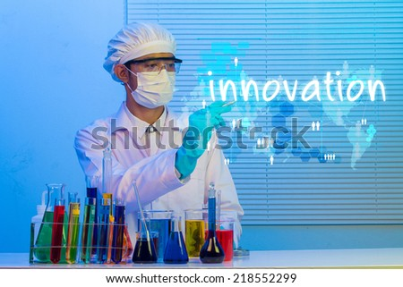 scientist creative drawing word innovation idea concept - stock photo