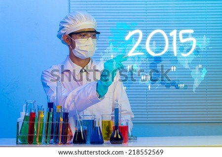 scientist creative drawing word number 2015 new year idea concept - stock photo