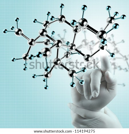 scientist doctor hand touch virtual molecular structure in the lab - stock photo