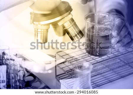 scientist  dropping chemical liquid to flask with microscope double exposure style