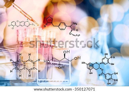 scientist hand holding laboratory test tube,Glass laboratory chemical test tubes with liquid.Man wears protective goggles,Double exposure - stock photo