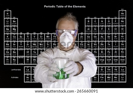 Scientist holding a toxic chemical reaction in front of the periodic table of elements - stock photo