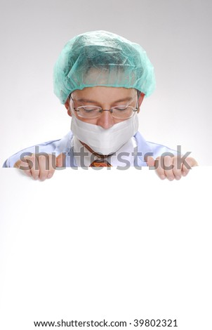 Scientist holding holding a white card. Doctor holding a white card. - stock photo