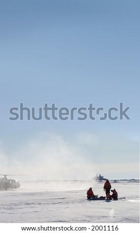 Scientist in Antarctica - stock photo