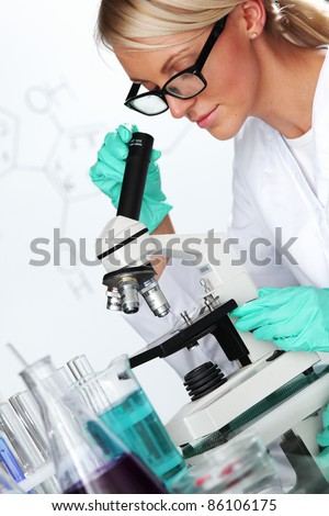 scientist in chemical lab - stock photo