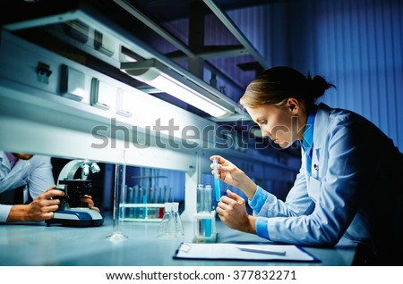 Scientist in lab - stock photo