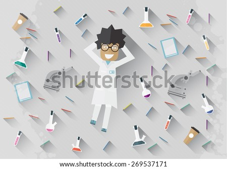 Scientist in lab lying on the floor concept making research - stock photo