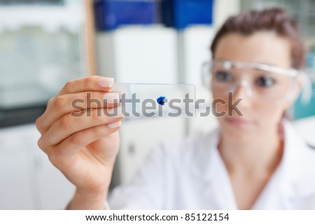 Scientist looking at a microscope slide with the camera focus on the object - stock photo