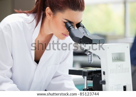 Scientist looking into a microscope in a laboratory - stock photo
