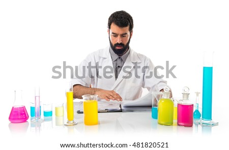 Scientist man with his notebook