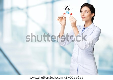 Scientist, Molecule, Molecular Structure. - stock photo